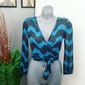 Tops - Crop Wrap Top Blouse Sheer Size Small